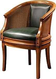 Fauteuil gondole pivotant hêtre massif teinté merisier doré tapissé cuir dossier canné