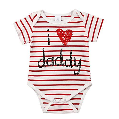 Babybody Bekleidung,Dorical Neugeborene kleidet Baby Mädchen Bodysuit Spielanzug Overall Ausstattung Strampler Outfits(0-24 Monate)(Rot,100)