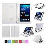 ISIN Housse pour Tablette Série Étui Premium PU avec Support pour Lenovo Yoga Tablet 2 YT2-830 et Tab 3 YT3-850 de 8.0 pouces Tablette Avec Sangle Velcro et Slot Cartes (Blanc)
