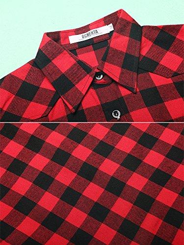 OCHENTA Flanella Camicia - Maniche Lunghe - a Quadri - Donna C056 Red Black