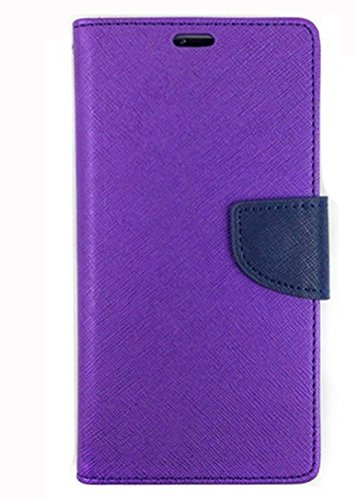 Stylish Luxury Mercury Magnetic Lock Diary Wallet Style Flip Cover Case forSamsung Galaxy On7 Prime (Purple Blue)