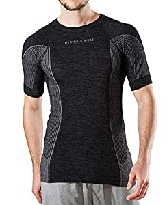 Merino & More Herren Funktions T-Shirt - Premium Funktionsunterwäsche aus Merinowolle - Sport - Funktionsshirt - Kurzarm schwarz-grau Gr. S