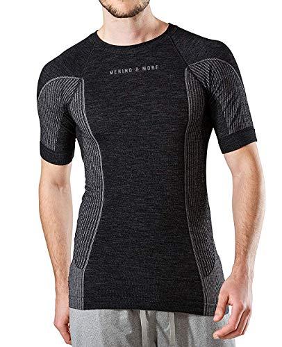 Merino & More Herren Merino Shirt - Premium Funktionsunterwäsche aus hochwertiger Merinowolle - Sport - Funktionsshirt - Kurzarm schwarz-grau Gr. L