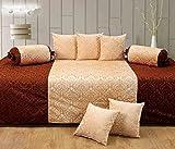#6: Gurnoor Velvet Diwan Set(content: 1 Single Bed Sheet, 5 Cushion Cover, 2 Bolster, Total - 8 Pcs Set, Exclusive Design)