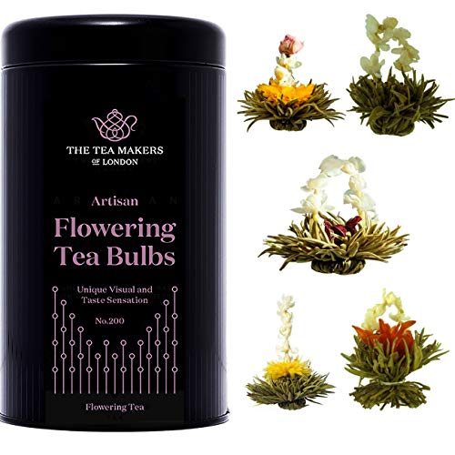 The Tea Makers of London Flowering Tea Individually Foil Packed Blooming Tea Bulbs Gift Caddy