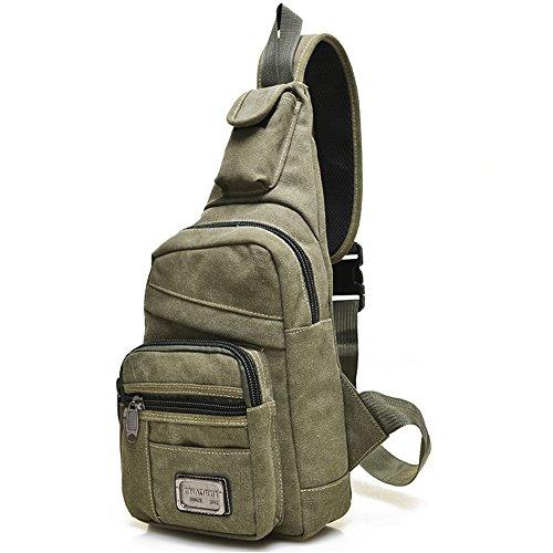 Minetom Unisex Freizeit Schultertasche Taschen Lapidar Brust Sling Bag Tornistertaschen Umhängetasche Reißverschluss Messengerbag Grün