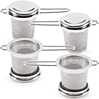 EZOWare Teefilter 4-er Set, Teesieb Set mit Griffen und Deckel/Abtropfschale für Tasse und Teekanne, Ideal für Losen Tee