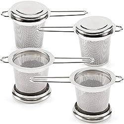 EZOWare 4-er Set Teesieb Teefilter und Deckel/Abtropfschale, Teesieb Set mit Griffen und Deckel/Abtropfschale für Tasse und Teekanne, ideal für losen Tee