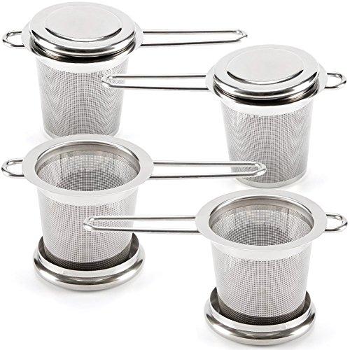 EZOWare Infusore da Tè, Colino in Acciaio Inossidabile e Tè Perfetto Setaccio/ Filtro per Tè a Fogli Mobili, Misura grande - Confezione da 4