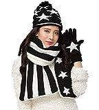 Vimeet Damen Warme Winter Mütze Schal Handschuh Set Wintermütze Gestrickt Beanie Mütze Wollmütze Strickmütze Earflap Hut Kappe Schnee Hüte Skimütze Bommelmütze Star Schwarz