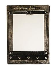 Idea Regalo - Portafoto in Legno e Cuoio - cornice a muro - personalizzabile - 25x18cm - Etabeta Artigiano Toscano - Made in Italy