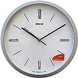 Ajanta Oreva Round Plastic Wall Clock (28 cm x 28 cm x 3.9 cm, Silver)