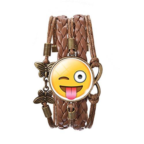 Jiayiqi Femmes Émotion Mignon Bracelet Wrap Bracelet Cuir Bracelet Manchette Réglable Coquines