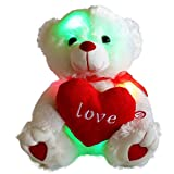 Wewill Brand Easter Gift LED Light up Glow Adorable Stuffed Animals Soft Toys Teddy Bear with a Heart Saying Love, Luminous Toy Gifts for Valentine's Day Birthday Children's Day Xmas Christmas Presents, 10.5-Inch/ 27CM