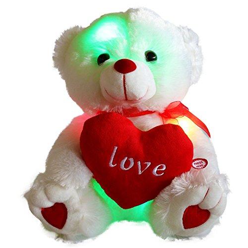 (Wewill Marke LED leuchten Glow Adorable Angefüllte Tiere Plüschtiere Teddybär mit einem Herz Saying Liebe, leuchtende Spielzeug Geschenke für Valentinstag Geburtstag Kindertag Weihnachten Weihnachtsgeschenke, 10,5-Inch/ 27cm)