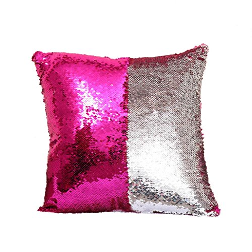 Winhurn DIY Double Colors Glitter Sequins Throw Cushion Cover for Home Decor (C)