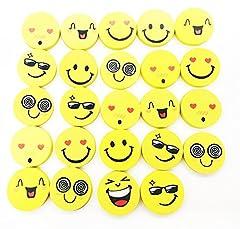 Idea Regalo - Ainxin - Set di 24 gomme da cancellare a forma di emoticon, ecologiche, faccine scelte casualmente, ideali come regalino in classe e feste per bambini Emoji Erasers-24pcs