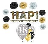 Feste Feiern Geburtstagsdeko Zum 18 Geburtstag | 16 Teile All in One Set Pompon Girlande Luftballon Deckenhänger Gold Schwarz Silber Party Deko Happy Birthday