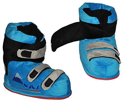 Hausschuhe - als blaue Skischuhe - SUPERWARM - Gr. 21 - 22 - gefütterte Plüschhausschuhe / Boots / Hausstiefel / Hausschuh Stiefel warm Skischuh / für Kinder Größe Erwachsene lustig Mädchen Jungen Damen Herren