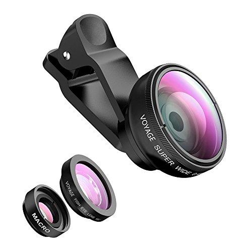 Phone lens Fisheye Objektiv Set - VOYAGE 3 in 1 Fischauge Handy Clip On Kamera Adapter für Smartphones - 0.4X Weitwinkelobjektiv + 180 Grad Fisheye Objektiv + 10X Makroobjektiv