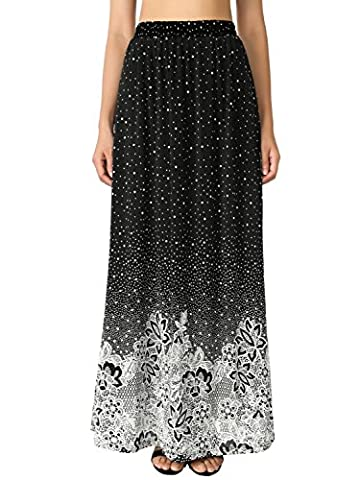 BAISHENGGT Women's Floral Printed High Waist Elasticated Boho Long Maxi Skirt White-2 X-Large