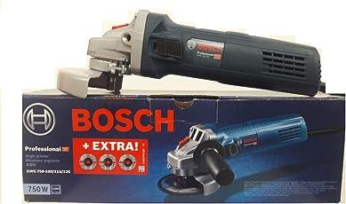 BOSCH GWS 750-100 4 INCH Angle grinder 750 W 11000 RPM with 3 free DC wheels inside.