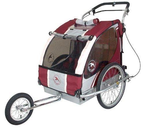 Blue Bird Fahrradanhänger Jogger für 2 Kinder mit stabiler Aluminiumwanne