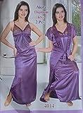 Two Piece Light Purple Satin Nighty For women's (Free Size)