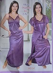 0795b59d96 Two Piece Light Purple Satin Nighty For women s (Free Size)  Amazon ...