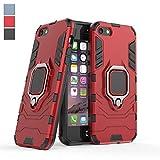 COOVY® Custodia per Apple iPhone 5 / 5s / 5c / SE plastica e Silicone TPU, Extra Resistente, Protezione Anti Colpi, Basamento + Supporto Magnetico   Colore Rosso