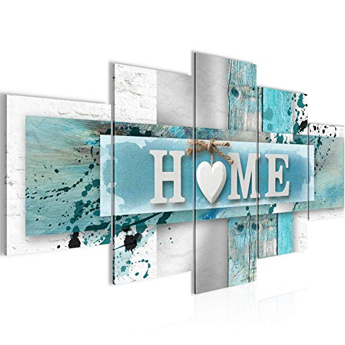 Bilder Home Herz Wandbild 200 x 100 cm Vlies - Leinwand Bild XXL Format Wandbilder Wohnzimmer Wohnung Deko Kunstdrucke Blau 5 Teilig - Made IN Germany - Fertig zum Aufhängen 504551a