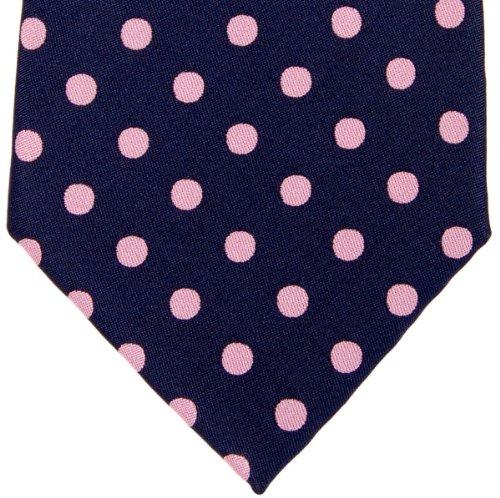 Retreez Cravate en microfibre tissée pour homme Motif à pois Plusieurs coloris au choix Rose - Navy Blue with Pink Dots