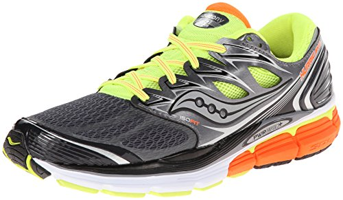 saucony hurricane 17, scarpe sportive, uomo, grey/citron/orange, 46.5