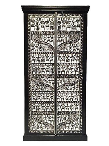 Orientalischer Grosser Schrank Kleiderschrank Simba 180cm hoch | Marokkanischer Vintage Dielenschrank schmal | Orientalische Schränke aus Holz massiv für den Flur, Schlafzimmer, Wohnzimmer oder Bad (Marrakesch Bad)
