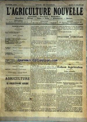 AGRICULTURE NOUVELLE (L') [No 171] du 28/07/1894 - AGRICULTURE PAR DANGUY - BLIN ET BERNARD - VITICULTURE PAR SOULIERE - HORTICULTURE PAR COUTURIER - MOTTET - ZACHAREWICZ - INDUSTRIE LAITIERE - VITICULTURE PAR SOULIERE par Collectif