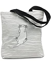 Mziart Cute Cat Striped Canvas Tote Shoulder Bag Stylish Shopping Casual Bag Foldaway Travel Bag