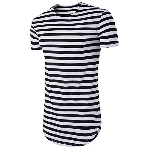 IMJONO Jubiläumsfeier Männer T-Shirt Tops Herren Oberteile Hemd Gestreiftes Kurzarm Lässige T-Shirt Bluse(XX-Large,Marine)