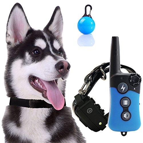 [2018 nouvelle version] Aucun collier de choc pour les chiens, imperméables et rechargeables collier d'entraînement à distance avec vibration/lumière/bip pour tous les chiens de taille, Blind Operation, gamme jusqu'à 300yd