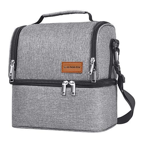 Canway borsa pranzo impermeabile borsa termica capacità da 8l con tracolla rimovibile borsa frigo 2 scomparti separati lunch bag per ufficio, scuola, campeggio e picnic, grigio