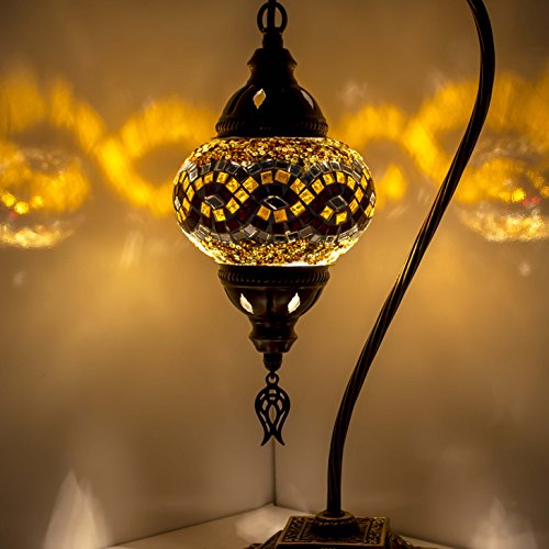 Mosaik Lampe-Türkisch Mosaik & Schreibtisch Lampe, atemberaubende, Einzigartige Globe Lampenschirm, marokkanischer Stil, Schwanenhals Serie Gelb 1 -