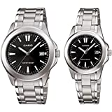 Casio His & Hers Black Dial Stainless Steel Band Couple Watch - MTP/LTP-1215A-1A2 For Unisex, Analog