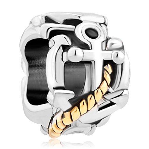 Pugster Anchor Gold versilbert Charm Verkauf Billig Perlen Pandora Jewelry Charms Armband Geschenke