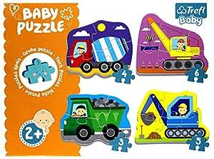 Trefl Baby - Puzzle 4 en 1 Modelo Los vehículos de construcción 3-4-5-6 Piezas, 36072