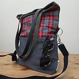 ¡¡Verkauf!! – SchulterTasche – Umhängetasche – Grau und rot, handgefertigt in Cord, Wollstoff und Baumwolle, mit Lederriemen
