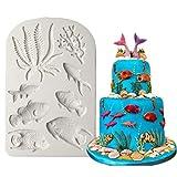 Stampo in silicone a forma di pesce oceano, decorazione per torte, cioccolato, pasta di zucchero, colore grigio