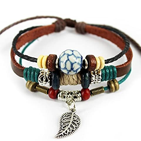 MORE FUN Stone Soccer Figure Bead Three Layers Soft Leather Cuff Bracelet with Leaf by MORE FUN