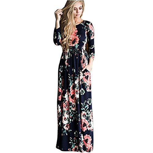 Minetom Damen Sommer Freizeit Langarm Geblümt Böhmischen Blumen Drucken Strand Maxi Kleid Abendkleid Boho Stil Lange Dress Dunkelblau