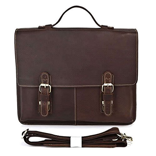 Everdoss Herren echt Leder Aktentasche Umhängetasche Schultertasche Messenger Bag Handtasche Schwarz braun