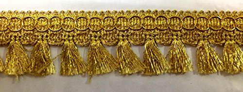 16,40m Fransen-Borte 2,5cm breit Farbe: Lurex-Gold TSL-2873-E-Gold