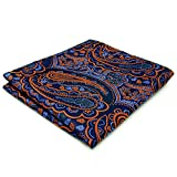 Shlax&Wing Einzigartig Herren Seide Einstecktuch Blau Orange Paisley Blumen